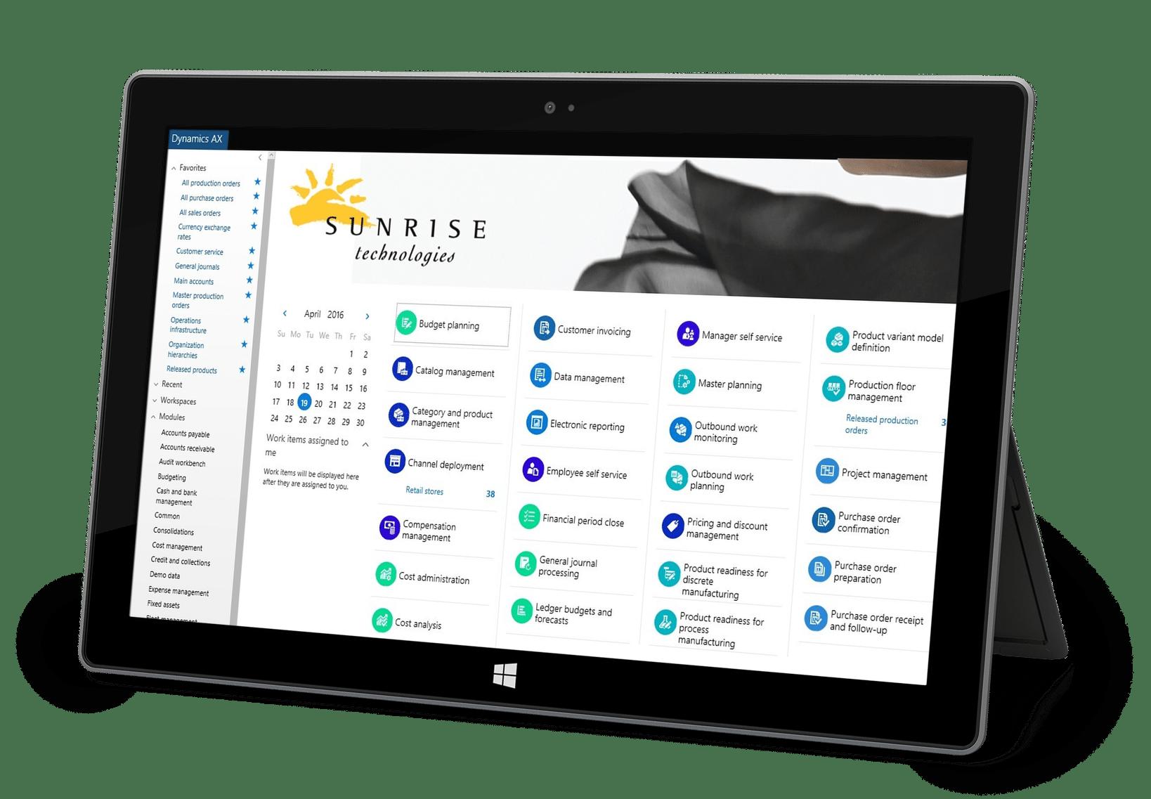 Sunrise Microsoft Dynamics AX Surface