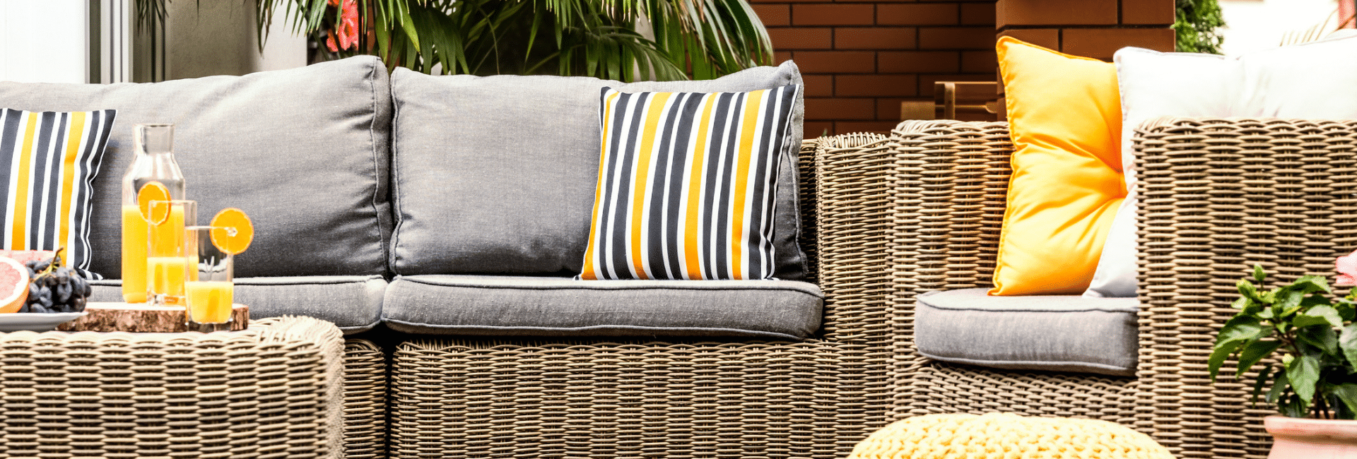 yellow and gray outdoor furniture sofa table and chair