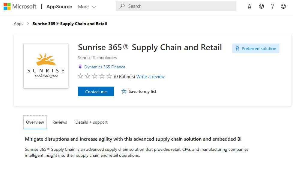 Sunrise 365 Microsoft AppSource