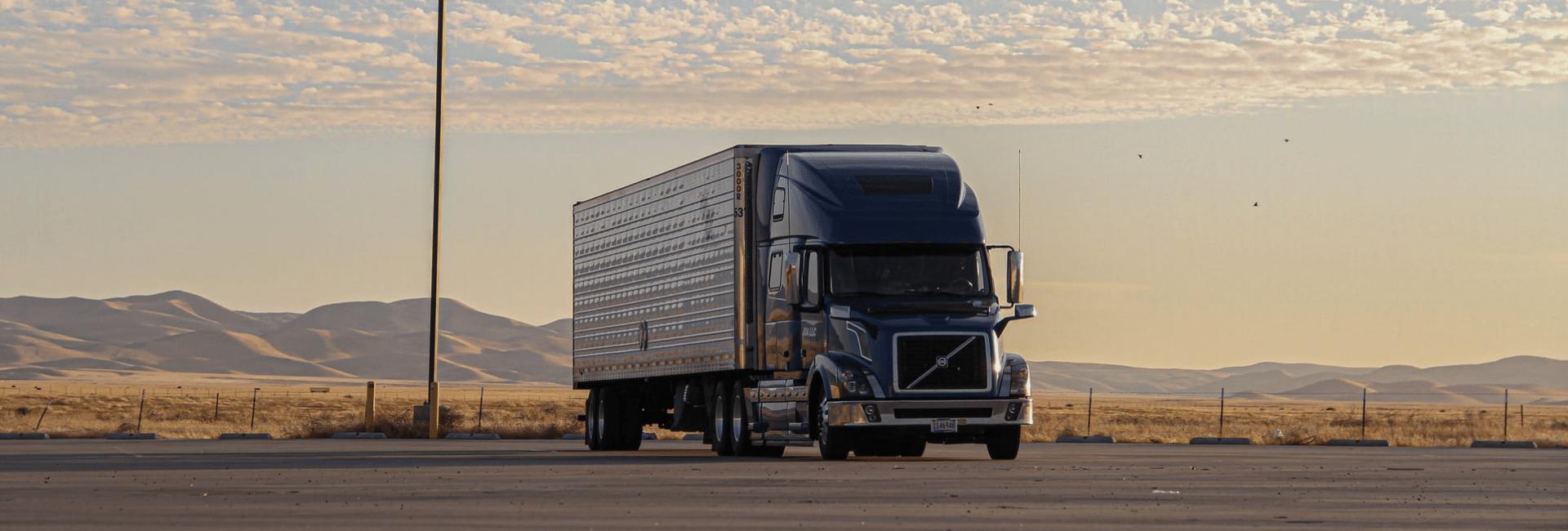 Semi truck in a parking lot